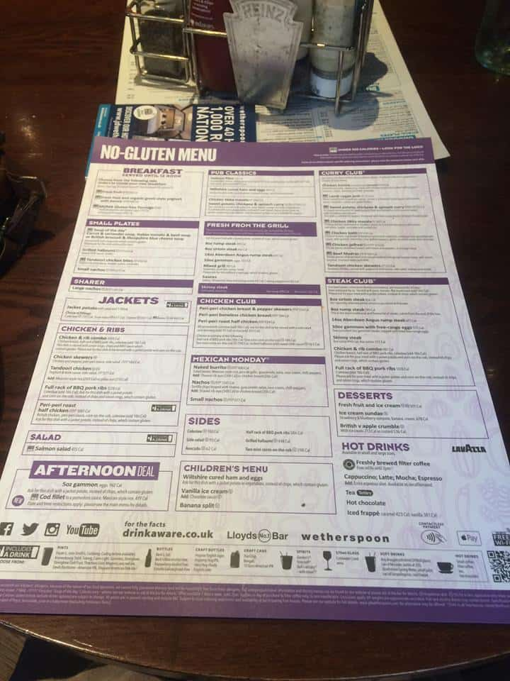 The new gluten free menu at Wetherspoon.