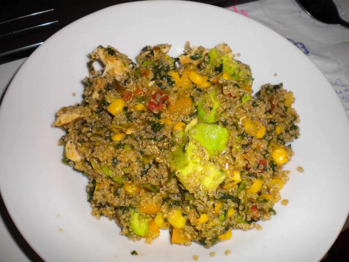 Quinoa with chicken, avo and spinach…mouthwatering!