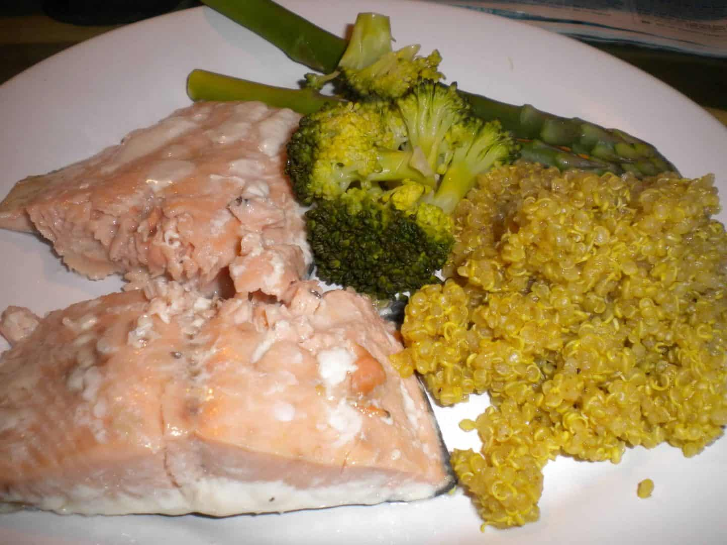 Curried quinoa with salmon – a quick gluten free dish