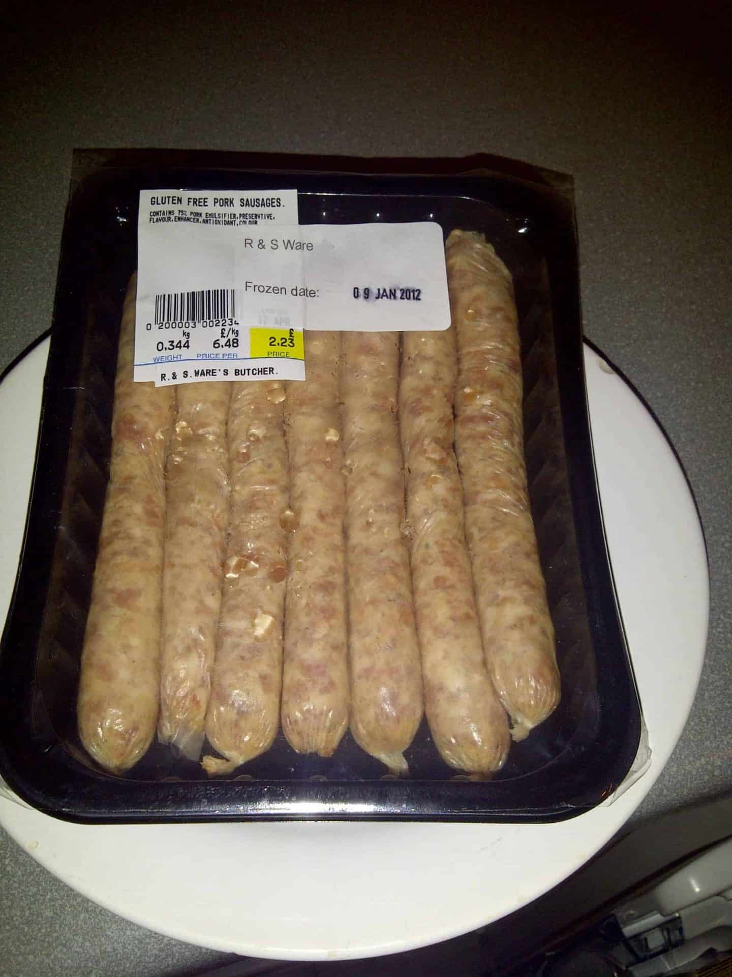 Gluten free sausages from a local butcher