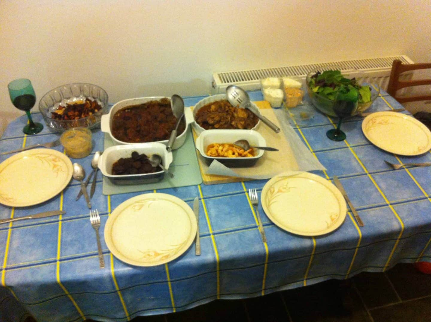 Gluten free tapas, part one: chorizo, prawns, meatballs, and plenty of red wine