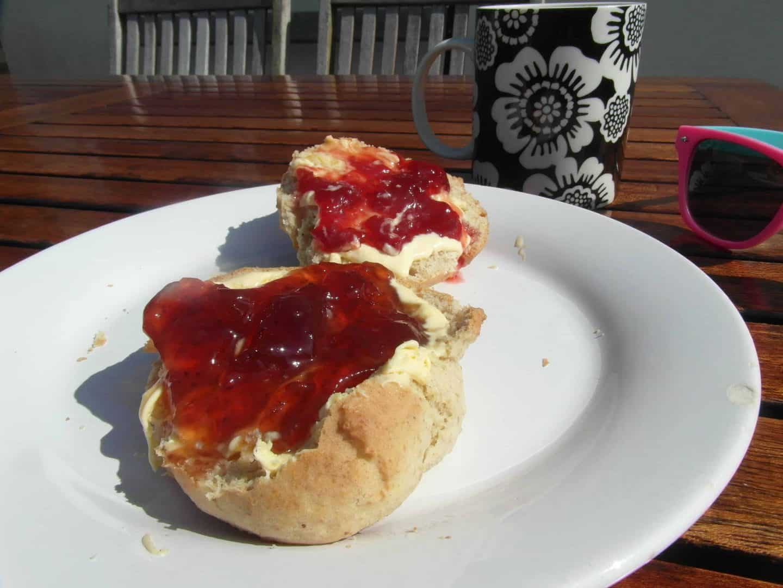 Home made gluten free cream tea with 'Helen's Brilliant Scone Mix'