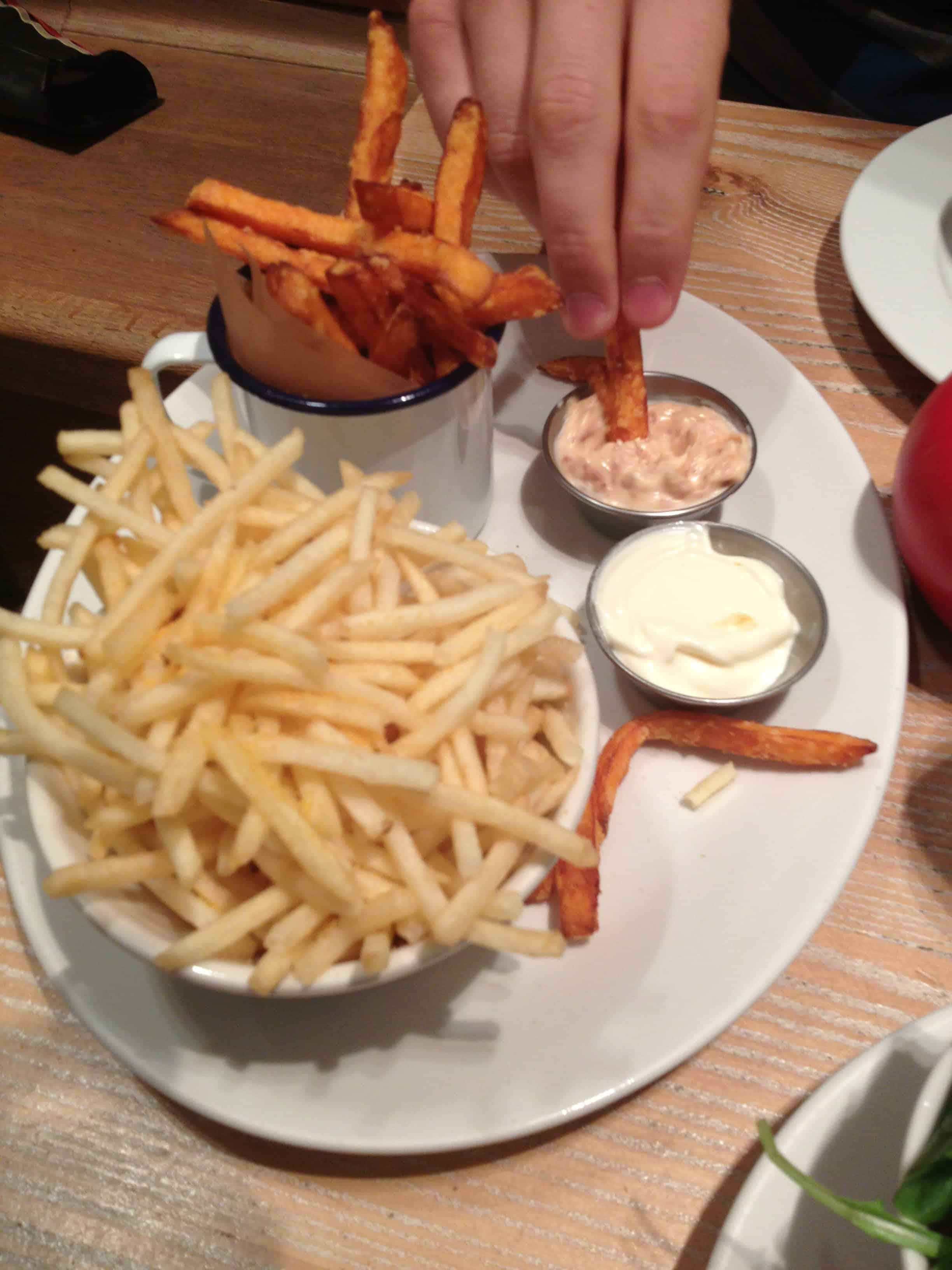 Skinny and sweet potato fries with the awesome bacon mayo.