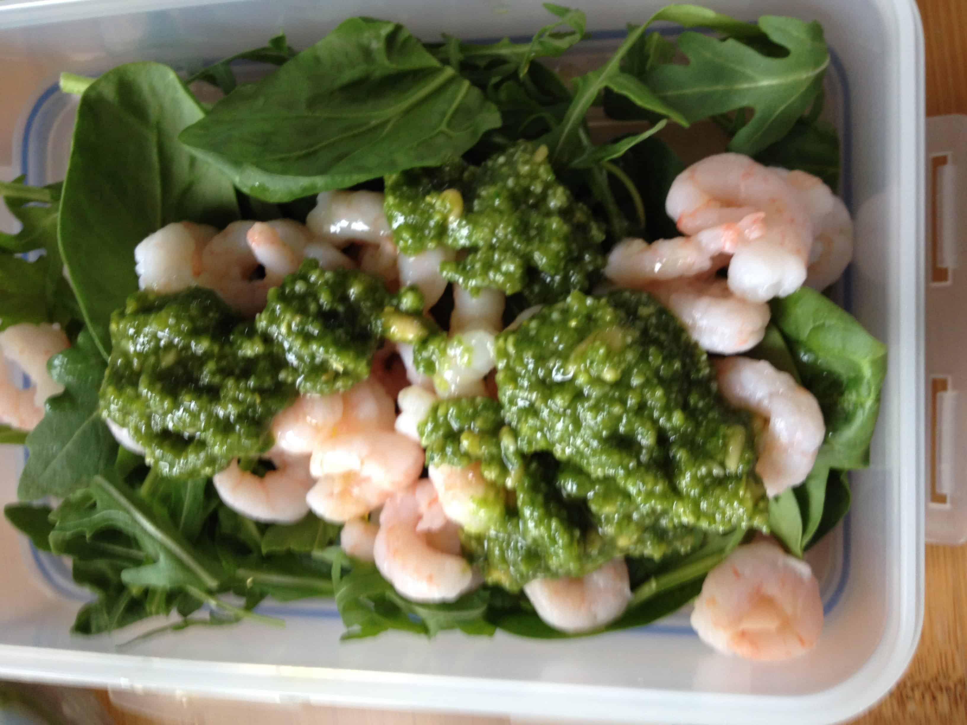 Prawn salad with my home made pesto