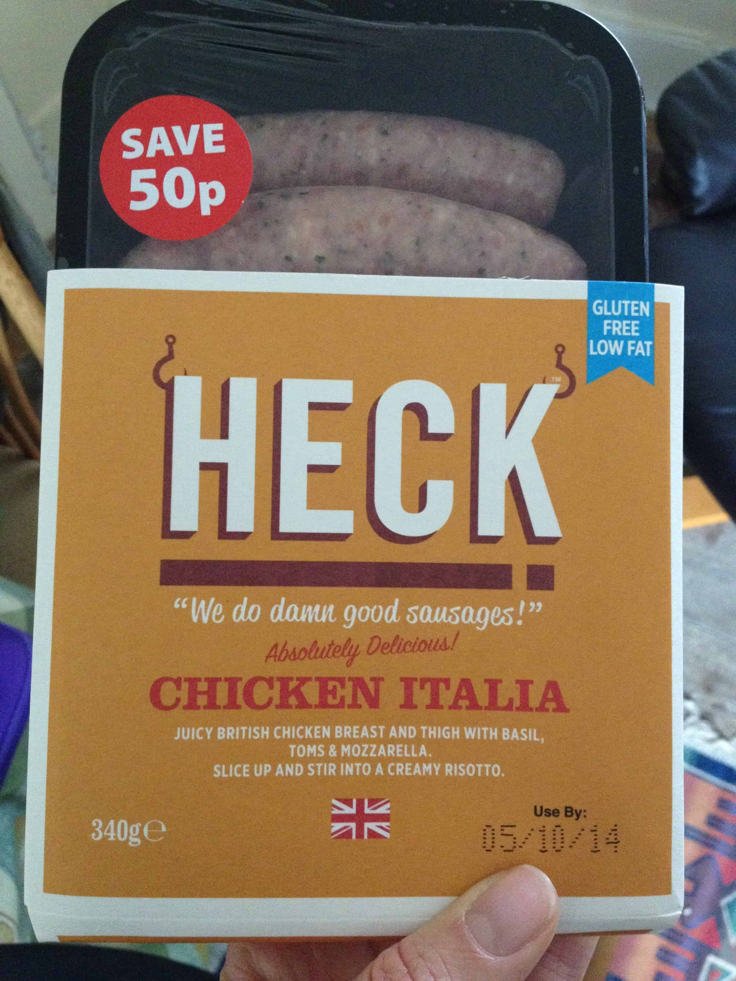 Chicken sausages from Heck.