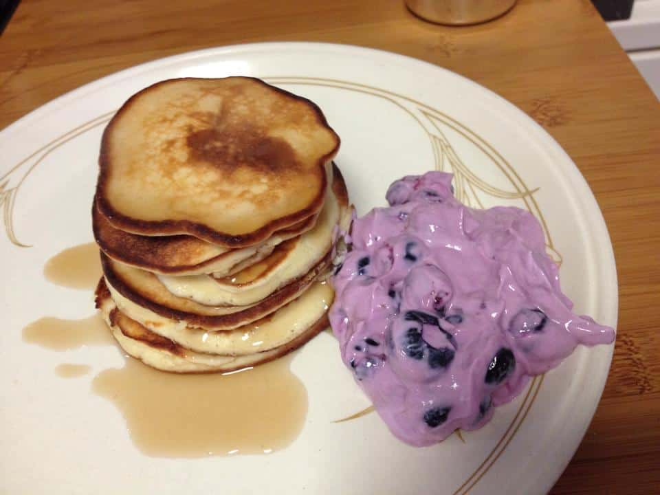 Protein pancakes with blueberries and Fage Total Greek yoghurt