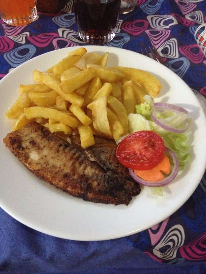 Pan fried tilapia at New Court View in Masindi