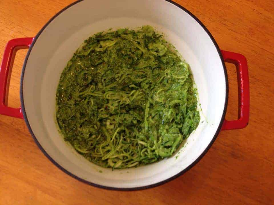 Gluten free green 'courgetti' spiralized spaghetti with spinach pesto