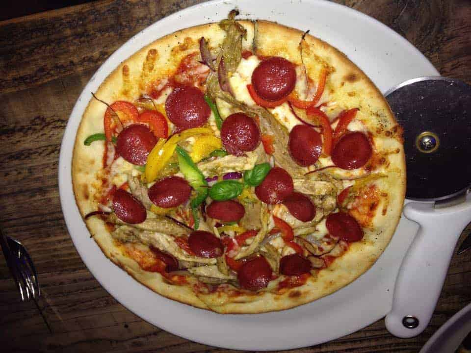 Gluten free pizza at The Blue & Green, Westward Ho!
