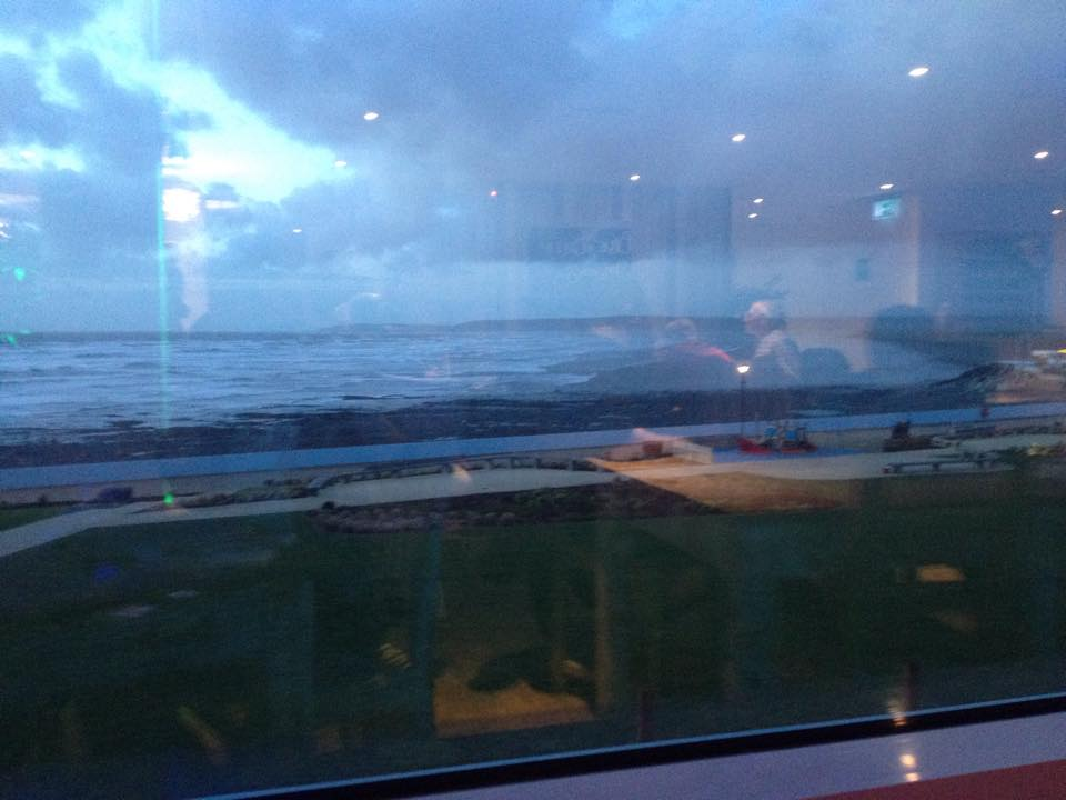 Not a very good photo of the stormy view from our table!!