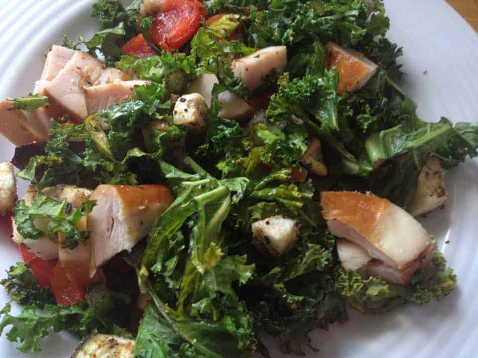 Hot gluten free kale and smoked chicken salad