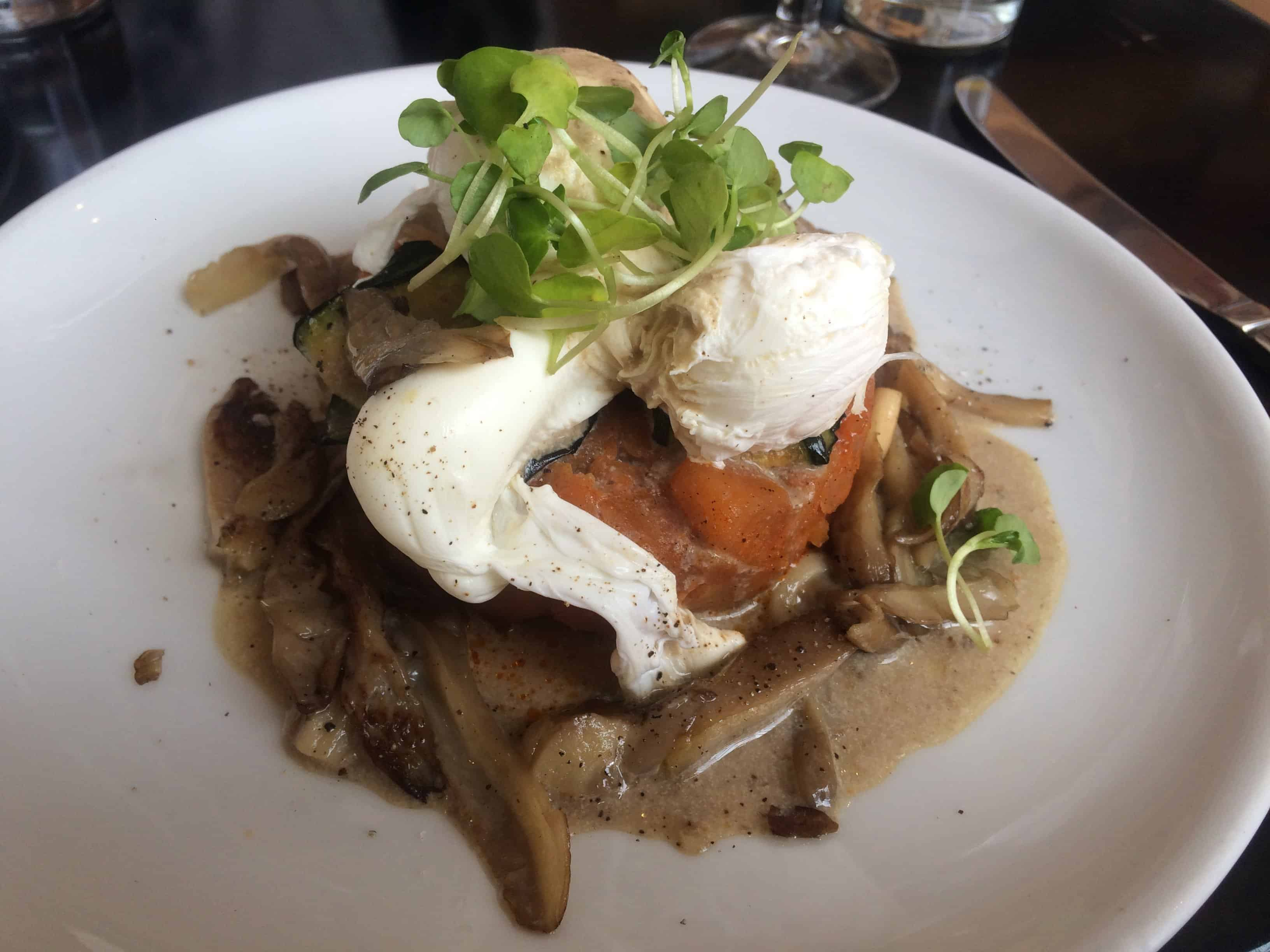 My root vegetable hash with mushrooms and poached eggs.
