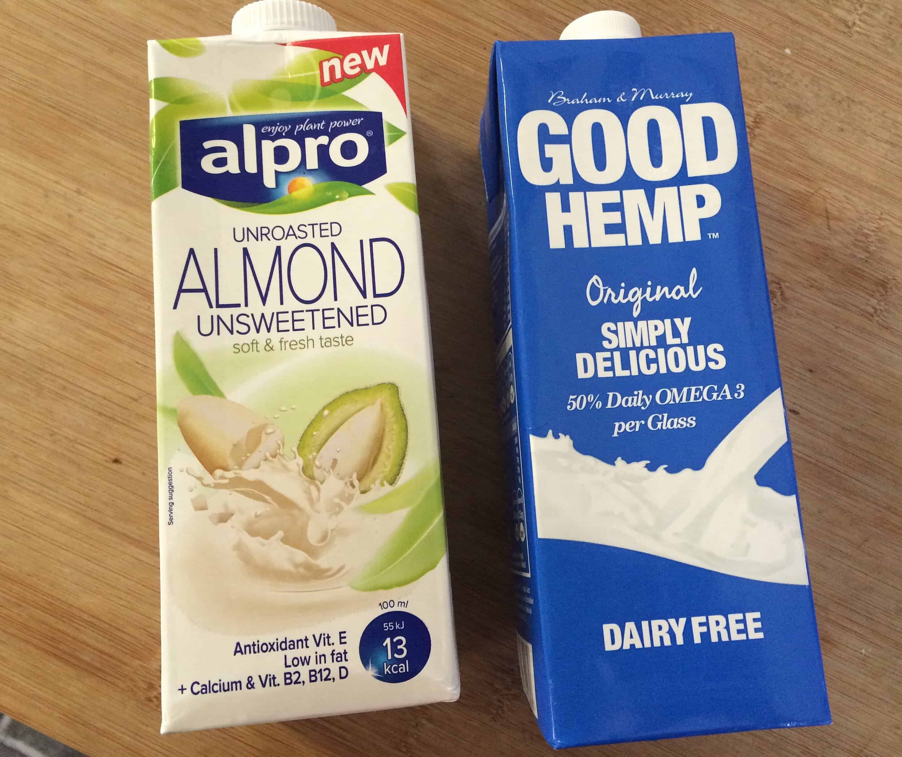 alpro and good hemp dairy free milk