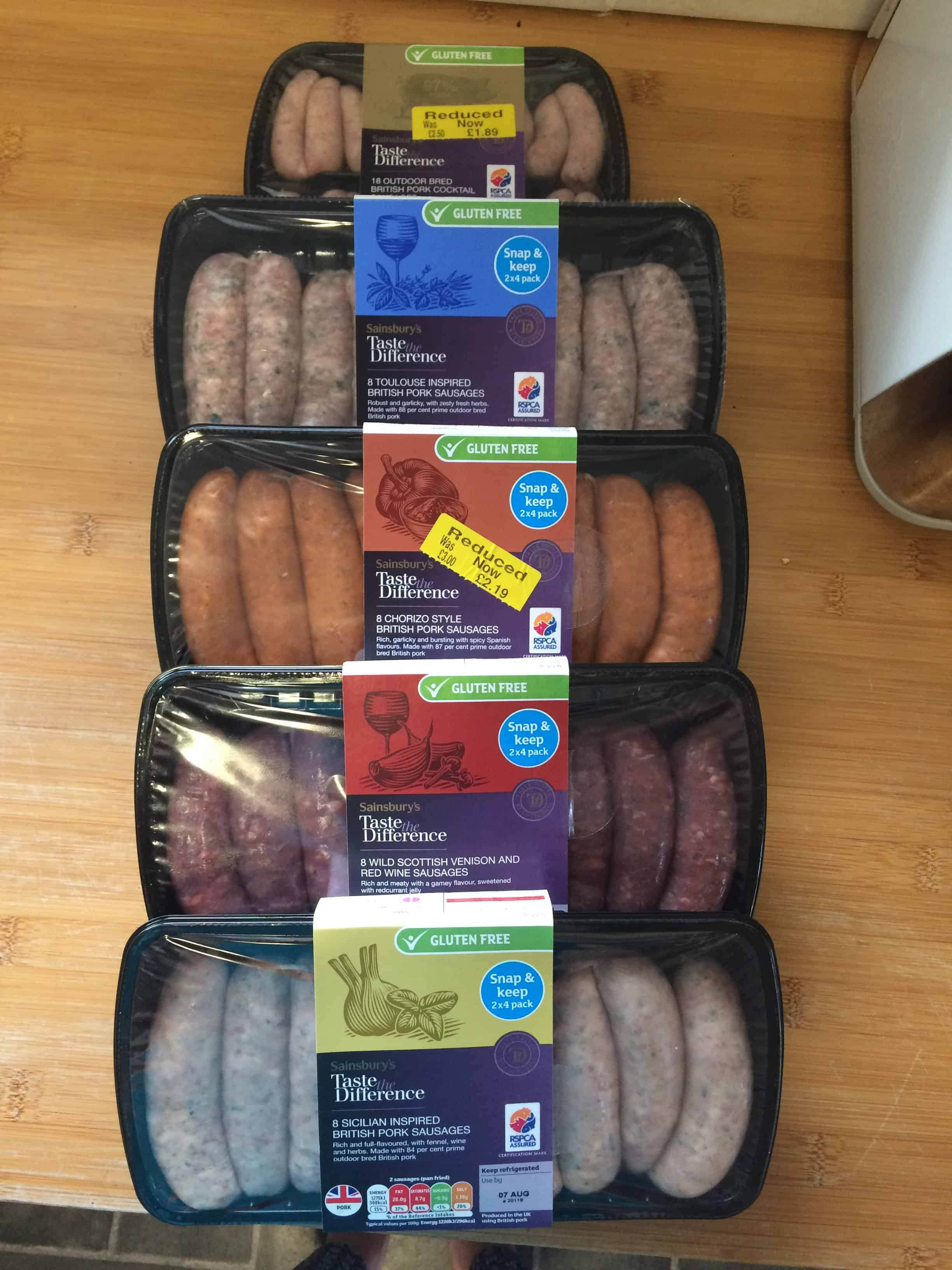 gluten free sausages from sainsburys