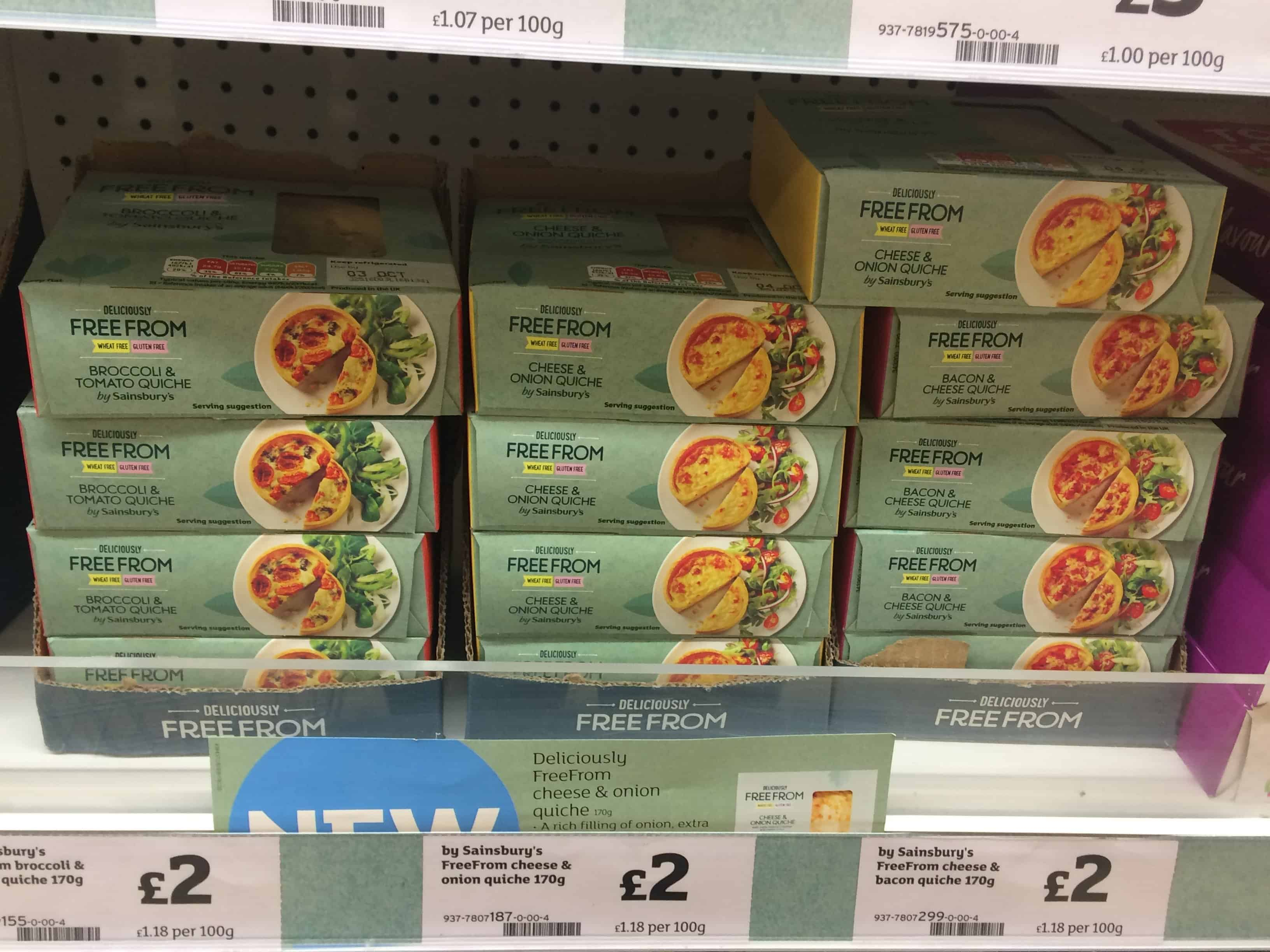 gluten free wheat free quiche sainsburys