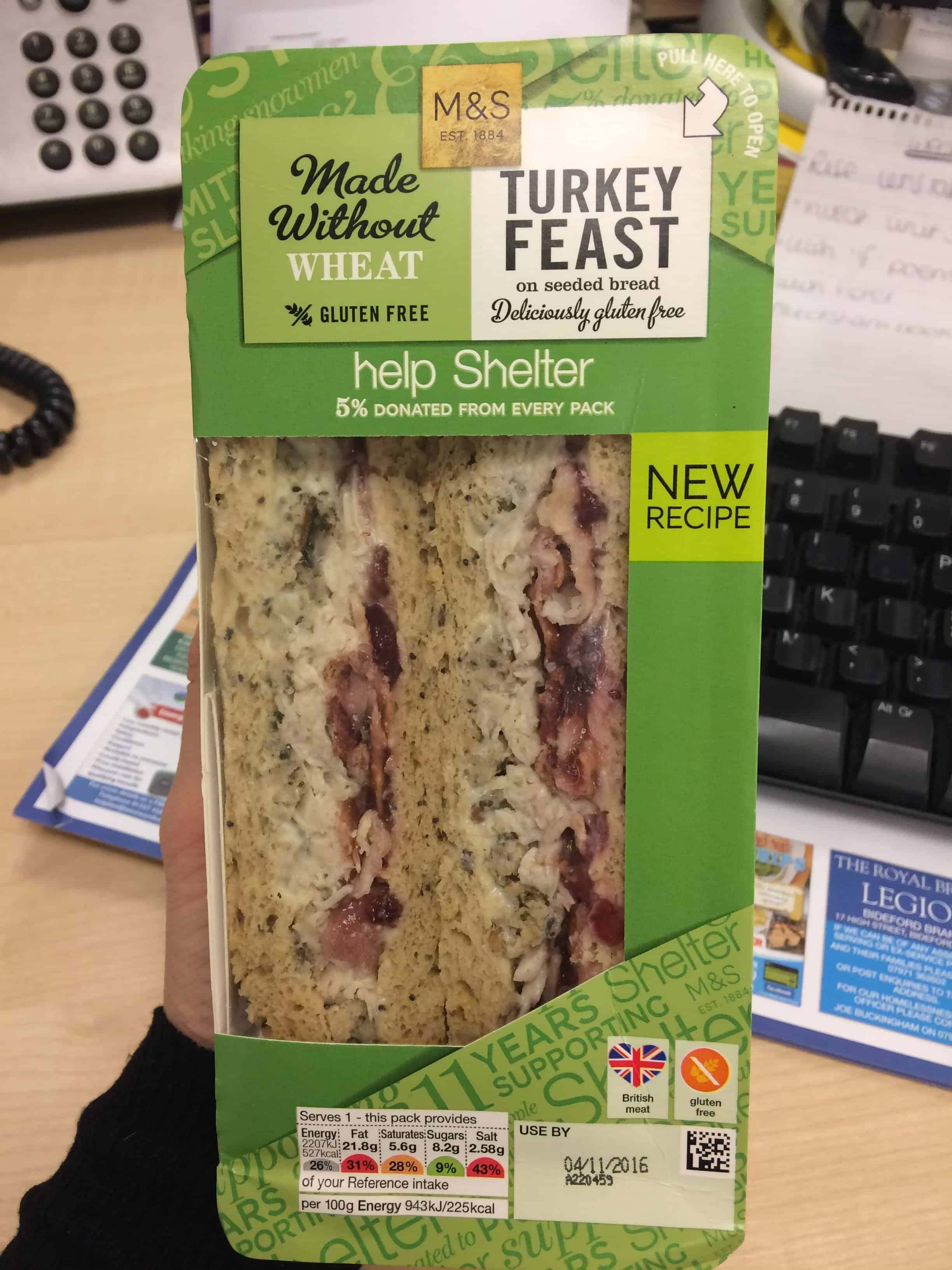 marks and spencer gluten free christmas sandwich