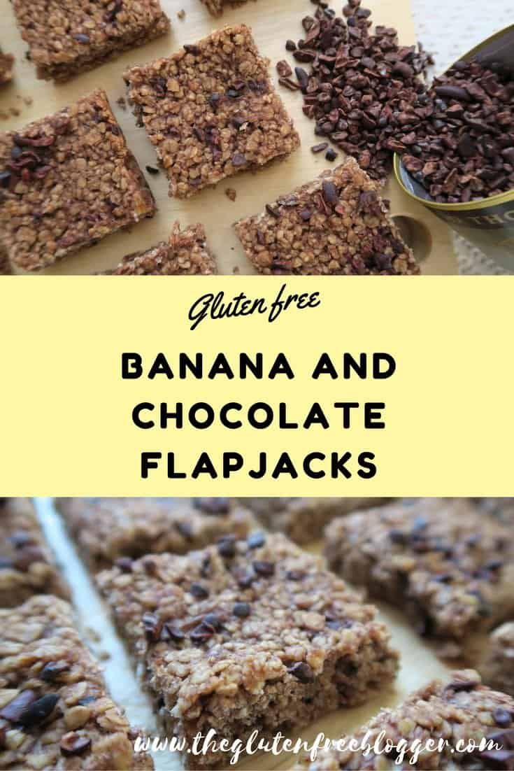 Gluten and refined sugar free banana and chocolate flapjacks. www.theglutenfreeblogger.com