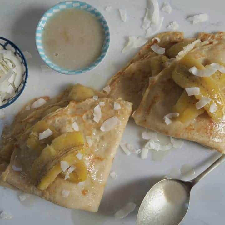 Gluten and dairy free pancakes with caramelised coconut bananas