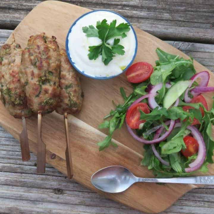 gluten free bbq recipe pork kofta garlic yoghurt rocket salad 22