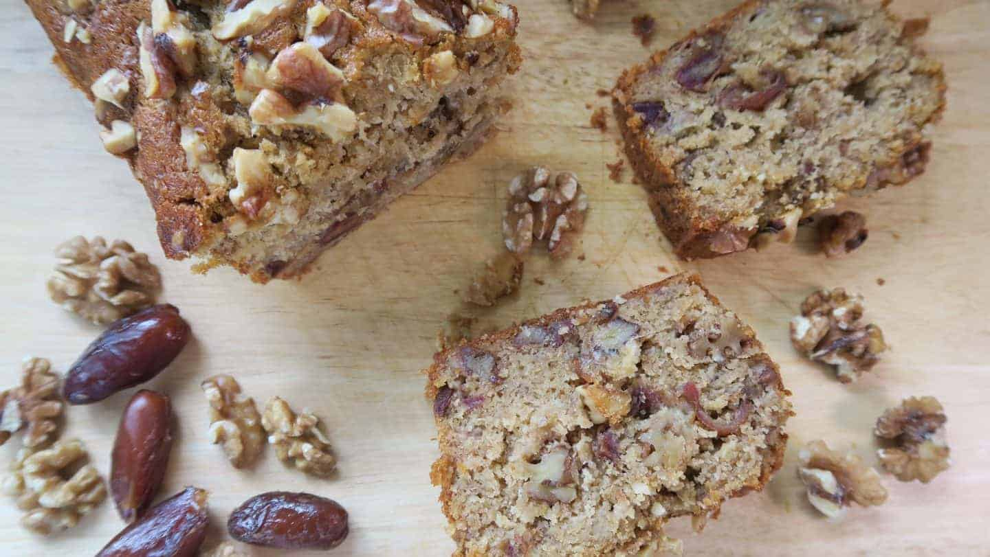 Gluten and dairy free banana, date and walnut cake recipe