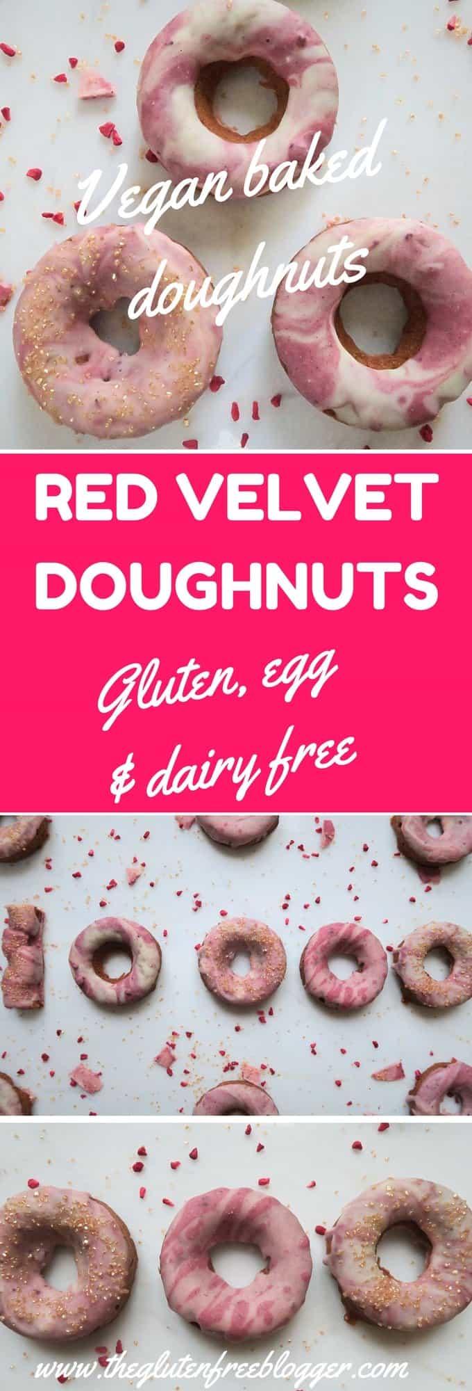 Gluten free and vegan red velvet doughnuts - baked doughnuts, a recipe from The Gluten Free Blogger. www.theglutenfreeblogger.com