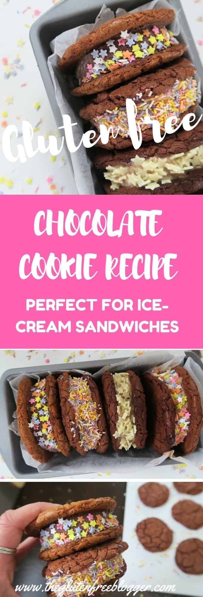 GLUTEN FREE CHOCOLATE COOKIE RECIPE INTO COOKIE ICE-CREAM SANDWICHES- www.theglutenfreeblogger.com