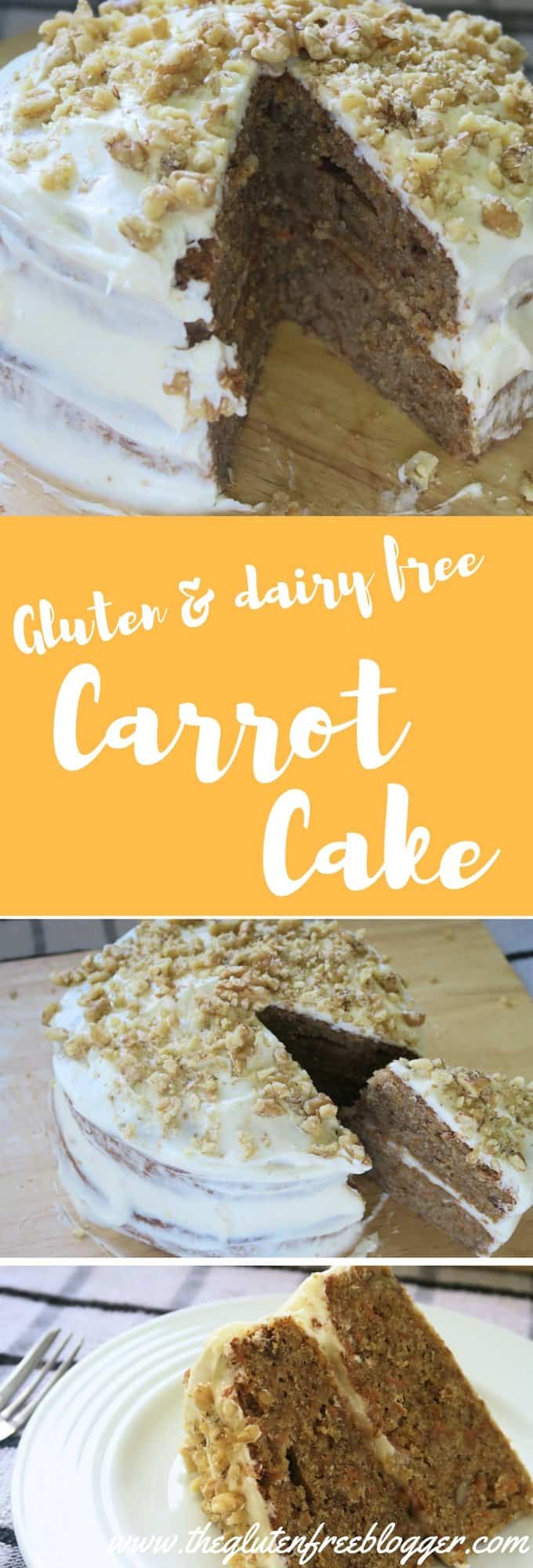 Gluten free carrot cake recipe with dairy free cream cheese frosting