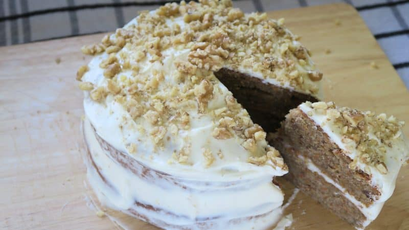 My gluten and dairy free carrot and walnut cake with cream cheese frosting