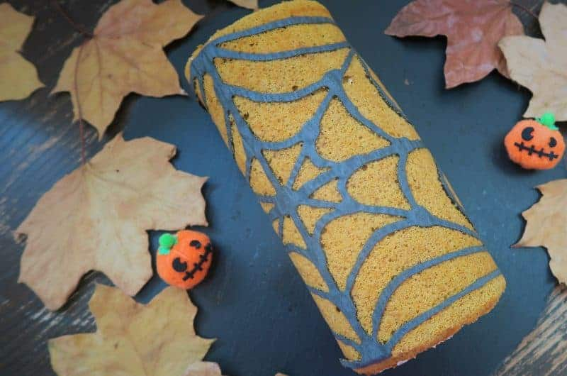 Pumpkin spice spooky swiss roll - the perfect gluten free Halloween recipe