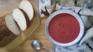 Gluten free beetroot soup - dairy free and vegan
