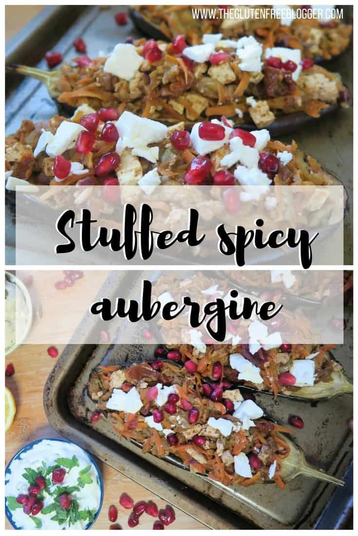 Gluten free stuffed spicy aubergine recipe - stuffed aubergines - baked aubergines - vegan recipe - vegetarian recipe - dairy free recipe.