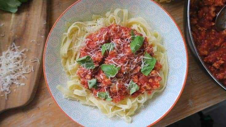 Gluten free turkey bolognese (low fat, high protein)