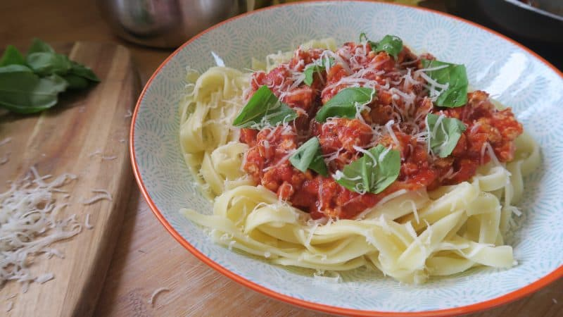gluten free turkey bolognese low fat high protein dinner recipe
