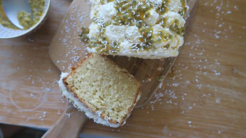 gluten free coconut and passionfruit loaf cake recipe 38