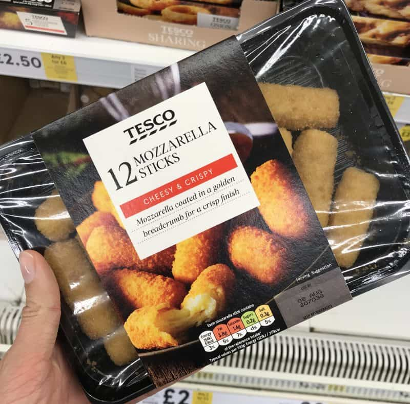 tesco mozzarella sticks gluten free