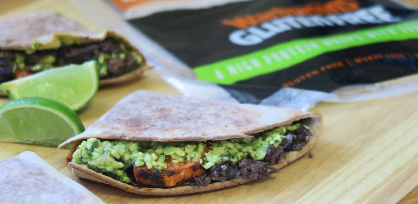 Loaded sweet potato and black bean quesadillas with Warburtons Gluten Free