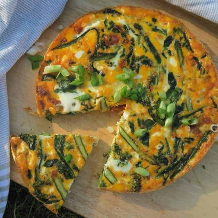 Gluten free frittata with chorizo, asparagus and goat's cheese