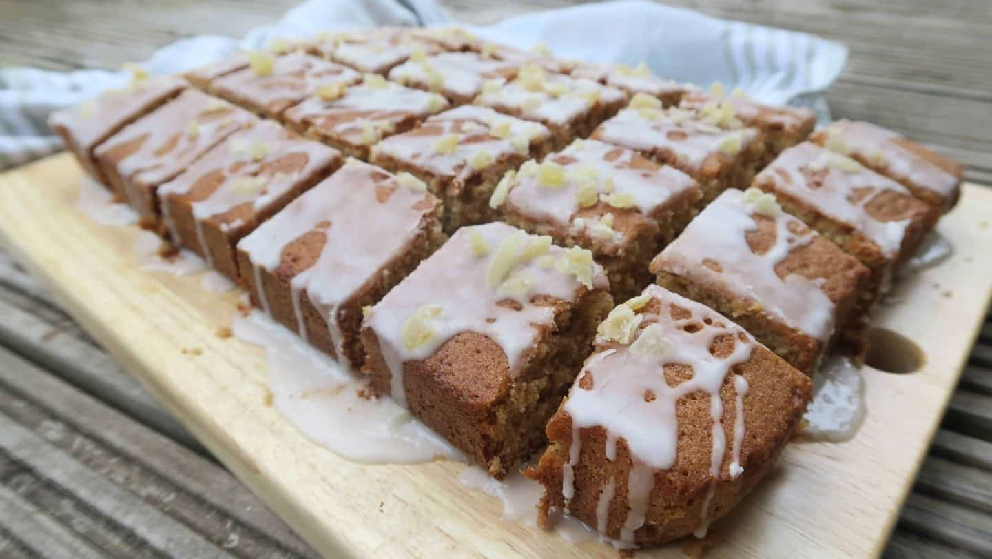 My gluten and dairy free ginger and rum tray bake