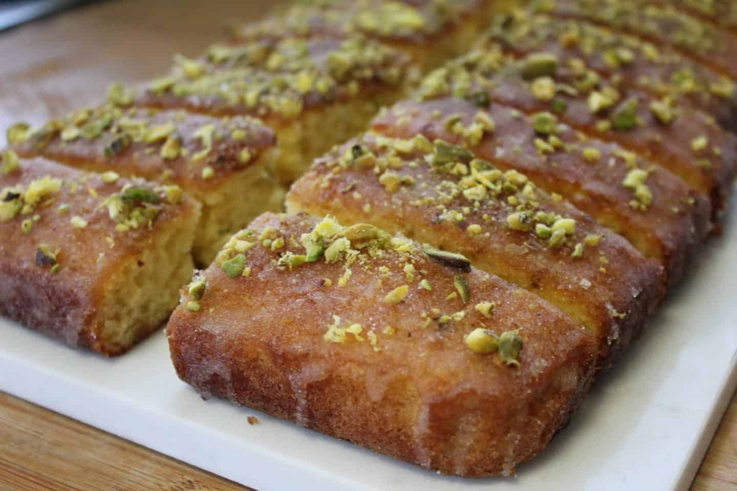 My gluten free lemon and pistachio drizzle cake