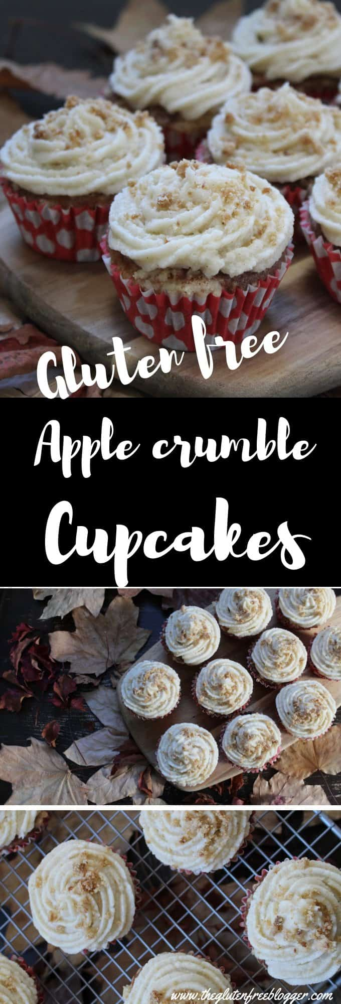 Gluten free apple crumble cupcakes recipe - coeliac - gluten free recipe - cupcakes - frosting - buttercream