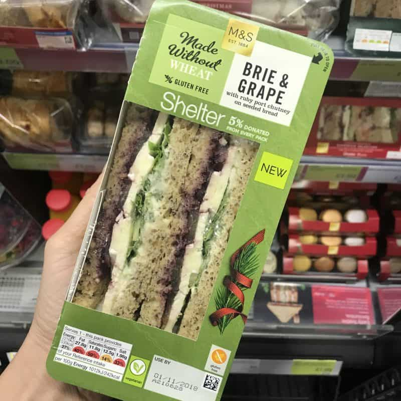 gluten free brie and grape christmas sandwich m&s