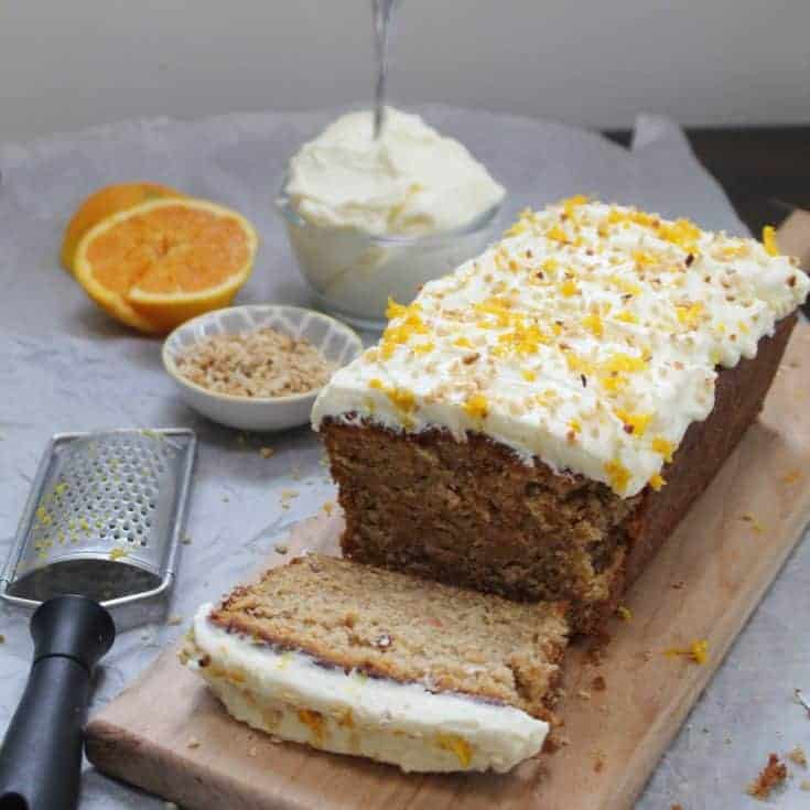 Gluten free carrot cake with hazelnut and orange frosting