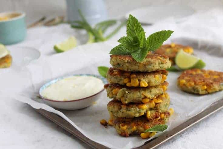 Gluten free chickpea and sweetcorn fritters