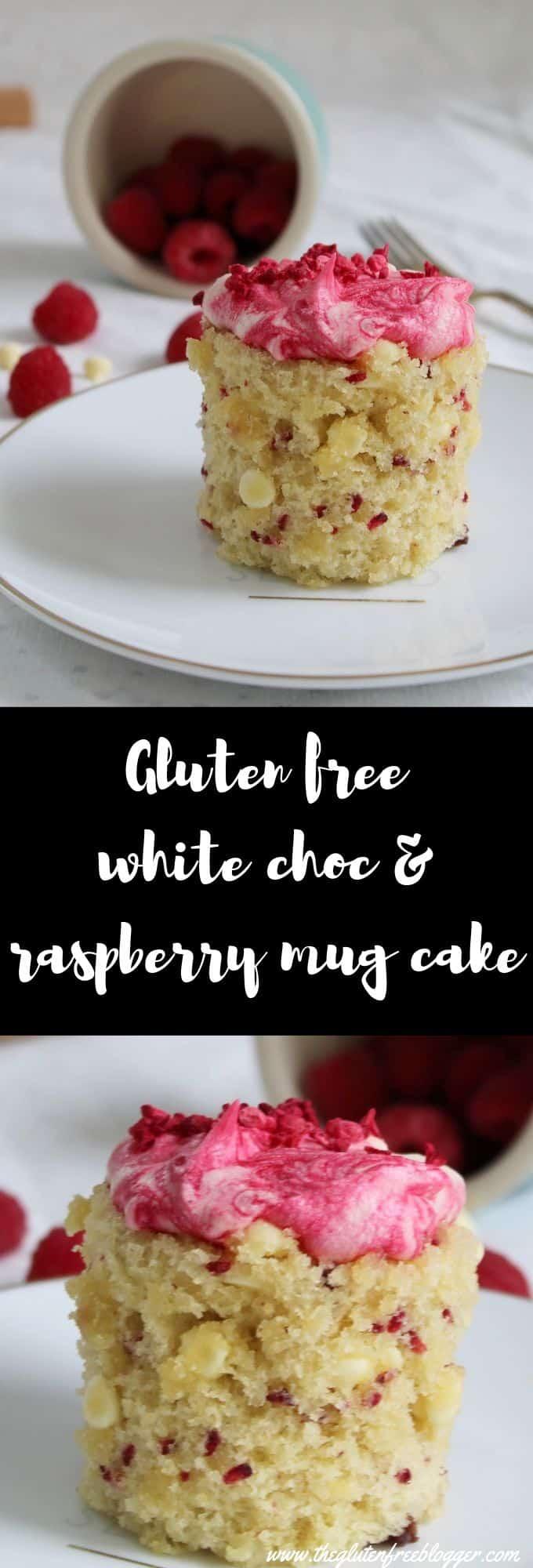 gluten free mug cake recipes - easy mug cake - coeliac friendly dairy free mug cake recipe white choc raspberry