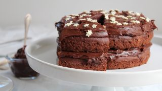 Gluten free chocolate cake with ganache frosting