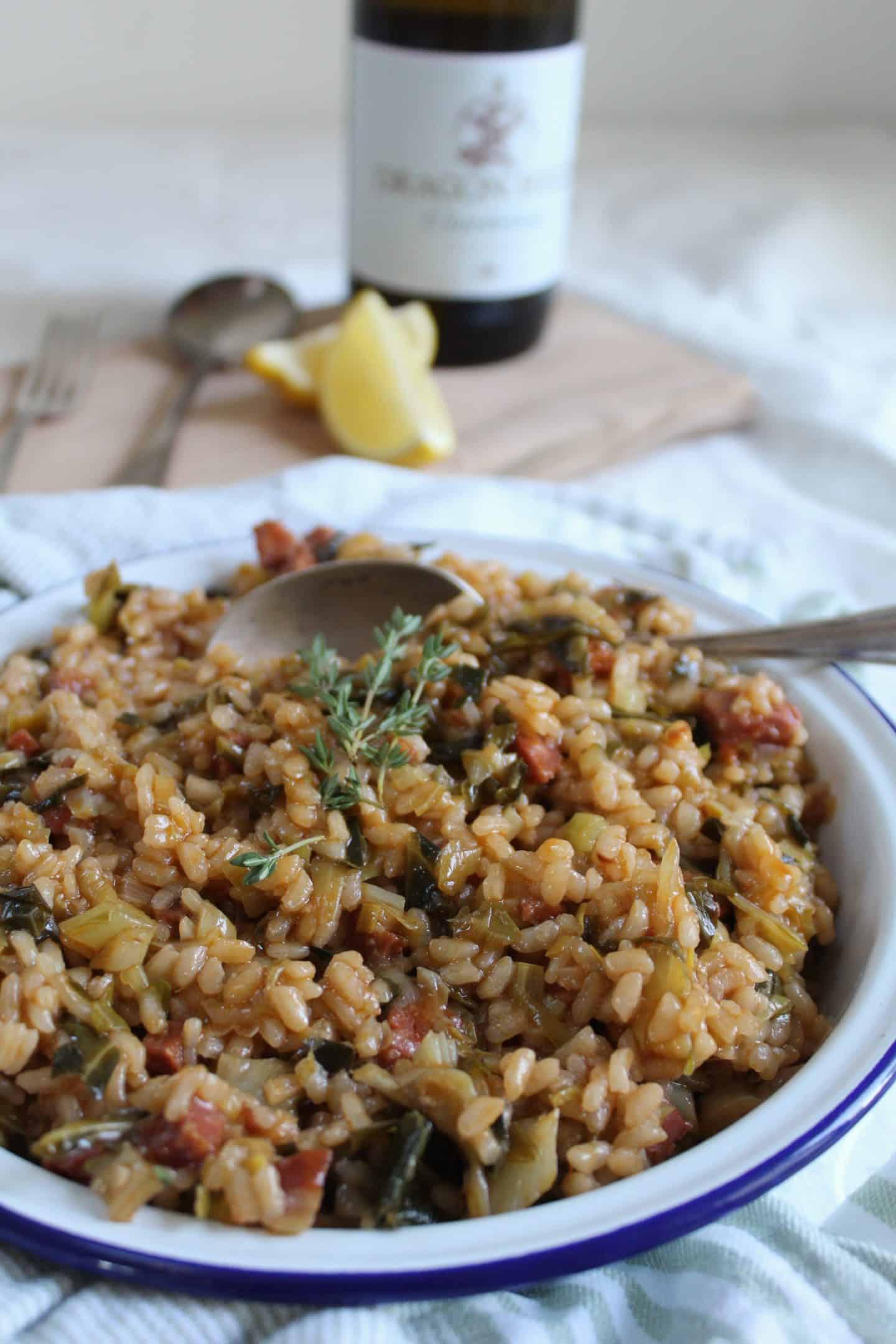 GLUTEN FREE CHORIZO LEEK AND SPRING GREENS RISOTTO RECIPE