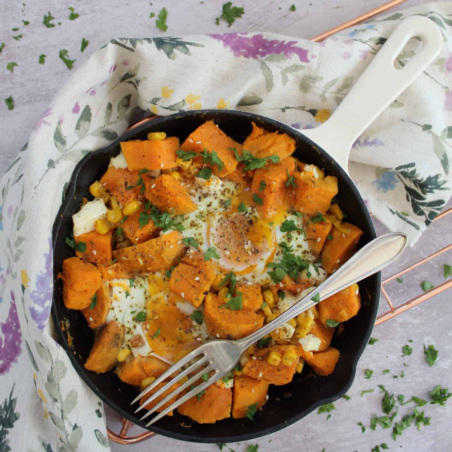 GLUTEN FREE FETA AND SWEET POTATO HASH RECIPE
