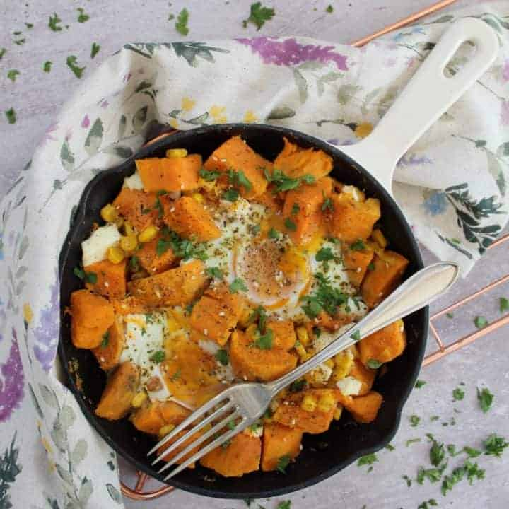 Sweet potato and feta hash