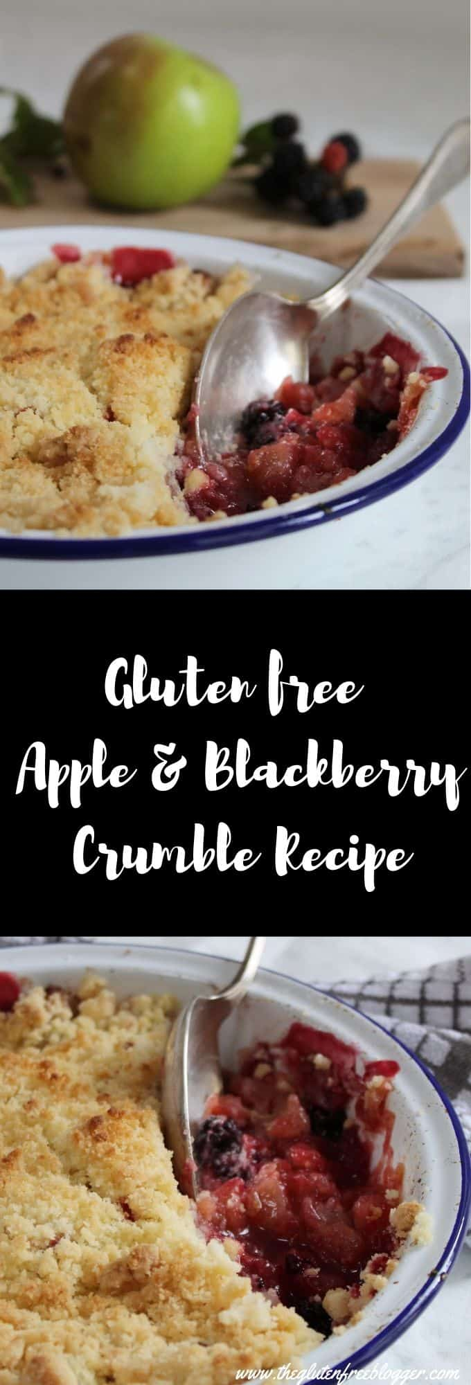gluten free apple and blackberry crumble recipe - coeliac friendly easy gluten free dessert
