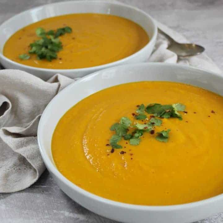 GLUTEN FREE CARROT AND GINGER SOUP DAIRY FREE VEGAN